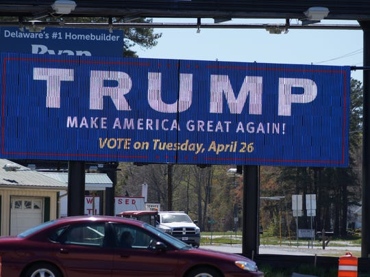 An electronic billboard in Millsboro urges Delaware voters to cast ballots for GOP candidate Donald Trump in the election taking place Tuesday, April 26 is seen on Wednesday, April 20, 2016.