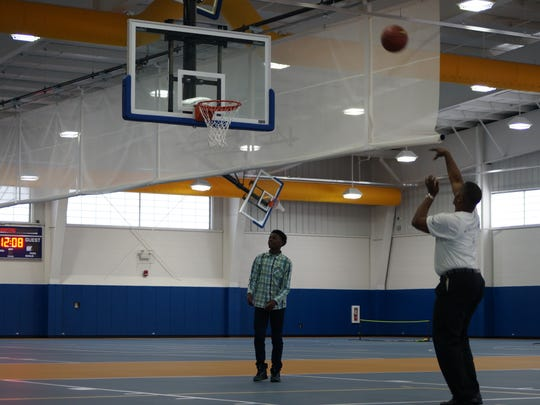 Boys & Girls Clubs of Delaware members try out the basketball hoops in the new Kent County Recreation Center building on Wednesday, June 1, 2016. The new rec center was jointly funded by the Boys & Girls Clubs and Kent County Levy Court.