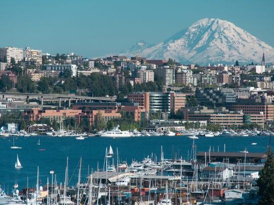 Mount Rainier and Lake Union from Aurora Bridge, Seattle, Washington.