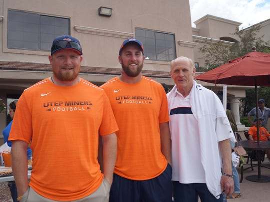 Left to right: Ben Hammer, Robert Kugler, Coach Nathan Poss at UTEP end of training picnic Saturday.