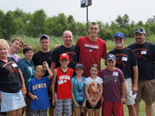 Sam Dekker at last August at the Strike Out Cancer