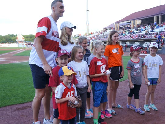Sam Dekker and Olivia Harlan at last August's Strike Out Cancer event hosted by the Children's Cancer Family Foundation.
