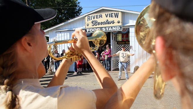 The River View High School Marching Band performed Tuesday outside the River View Music Boosters food stand at the Coshocton County Fair.