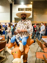 Adam Fellenz, 37, in his bullrider costume at the 2017