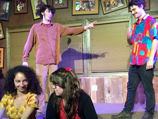 The cast of Cornflower rehearses.