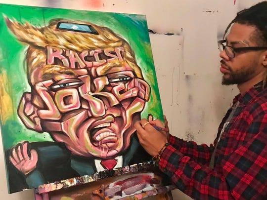 Wilmington artist Terrance Vann paints President Trump