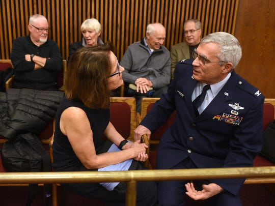 Linda Antoon, front left, and David Antoon talks with each other while waiting for Antoon's hearing to start in a Cuyahoga County Justice Center courtroom Friday, November 17th, 2017, in Cleveland, Ohio. Seated behind them, from left are Dennis Wade, Ann and John Perrotti and Dan Gagliano. All three men were operated on by Dr. Kaouk.