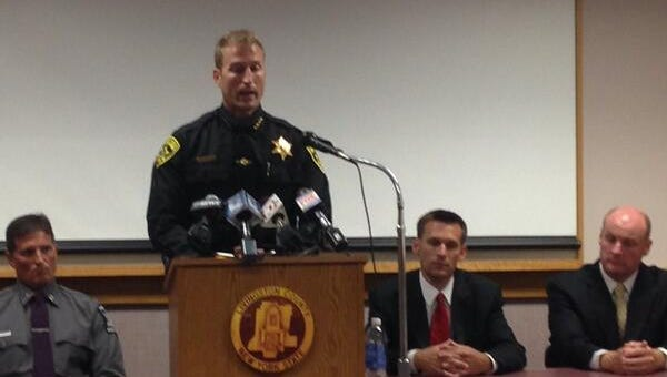 Livingston County Sheriff Sheriff Thomas Dougherty speaks at a press conference Monday afternoon.