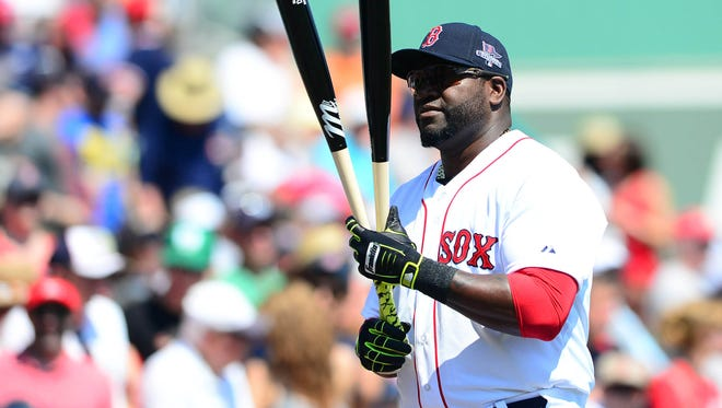 Boston Red Sox designated hitter David Ortiz before a gamea gainst the Tampa Bay Rays at JetBlue Park.