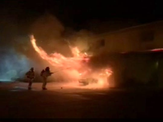 Cielo Vista resident Haydin Herndon took this photo of Carlsbad firefighters battling a fire on Thursday night.