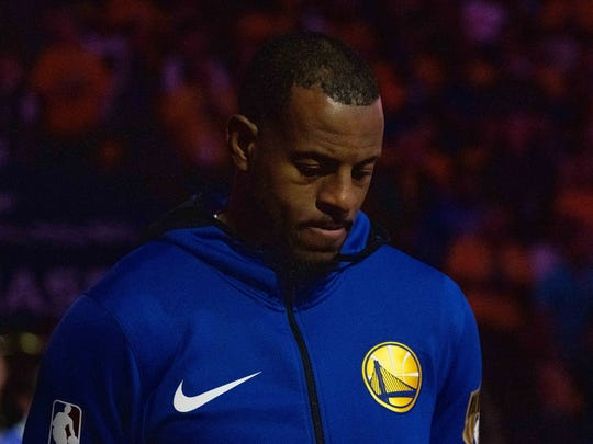 June 5, 2019; Oakland, CA, USA; Golden State Warriors guard Andre Iguodala (9) during the national anthem before game three of the 2019 NBA Finals against the Toronto Raptors at Oracle Arena. The Raptors defeated the Warriors 123-109 to lead the series 2-1. Mandatory Credit: Kyle Terada-USA TODAY Sports