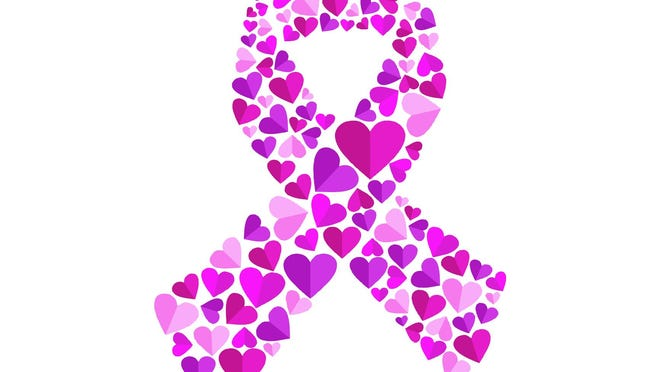 Pink heart shapes making ribbon shape for breast cancer awareness, show love. EPS10 vector.