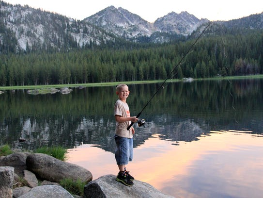 Noah Peters doing some fishing at Anthony Lake in the