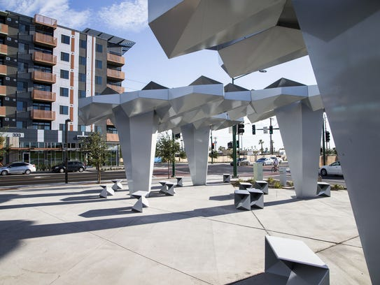 The new Roosevelt Row streetscape public-art installation