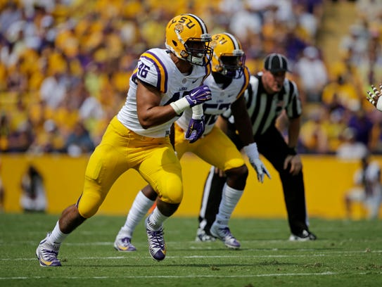 LSU defensive end Tashawn Bower (46)  in action in