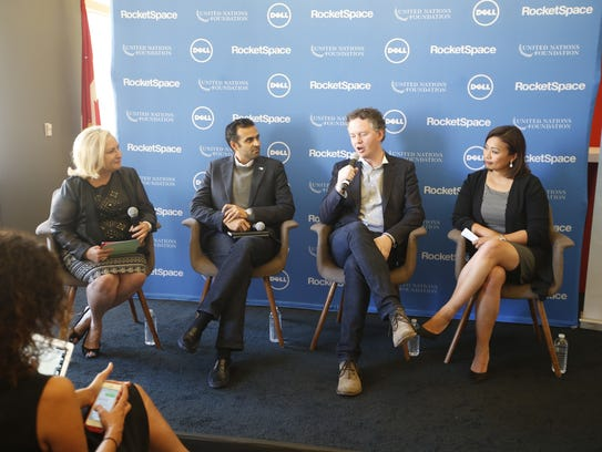 Rhonda Abrams (left) leads a panel discussion about
