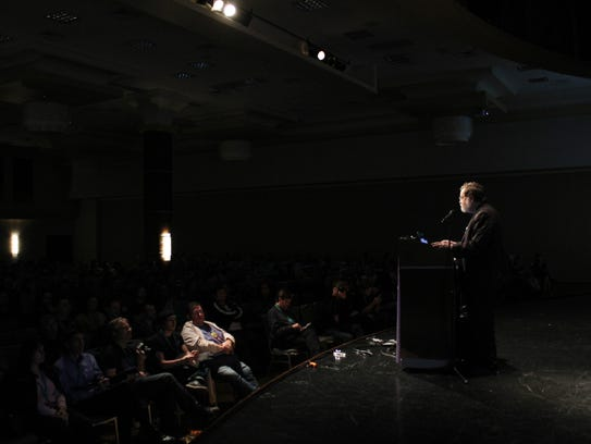 Atheist and biology blogger PZ Myers gives a talk at