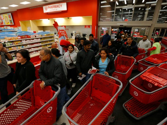 Customers flood into a Target in Jersey City, N.J.