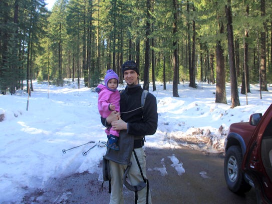 Zach Urness and Lucy Urness embark on a snow shoe trip