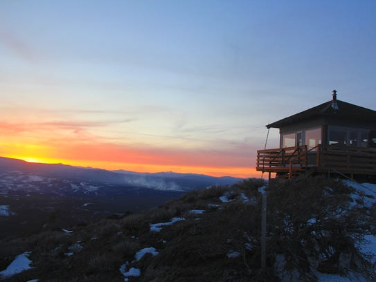 The sun sets at Hager Mountain Lookout.