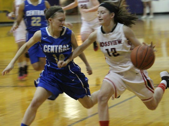 Rossview's Macy Rippy (12) tried to drive past Wilson