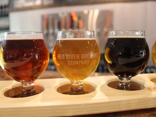 A flight of beers at Red River Brewing Company in Shreveport.