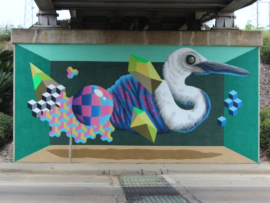 BirdO's second Egret mural. (2 of 2).