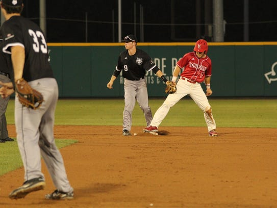 Kyle Clement, shown on base against Arkansas State,