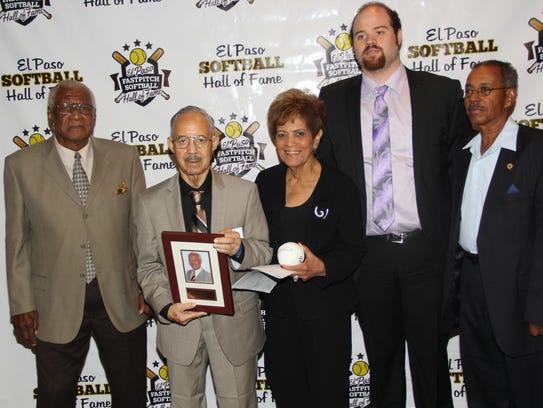 Bill Mallard, from left, James J. Crouch, Lillian Crouch,