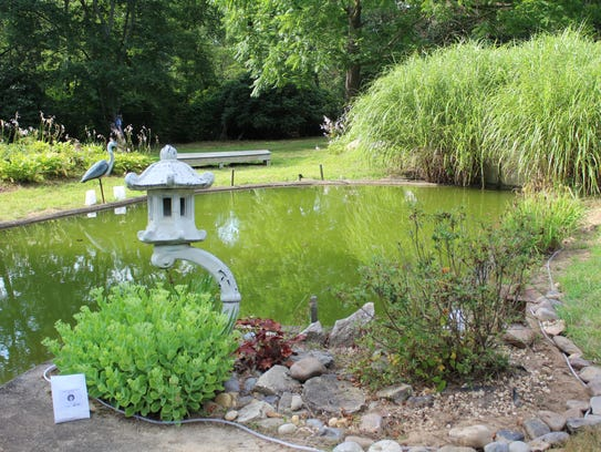 A memorial lantern had been placed by the pond in the