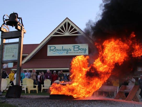 A fish boil underway at Rowleys Bay Restaurant in Ellison