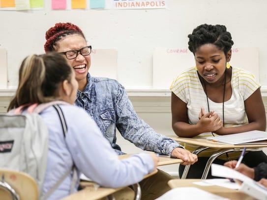 Left to right, Delmy Sanchez, Rejala Lamar  and   teacher-mentor