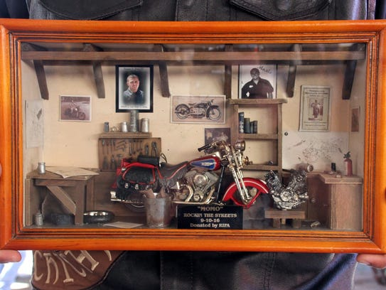 "This shadow box in memory of Ramon ""Momo"" Pena III"