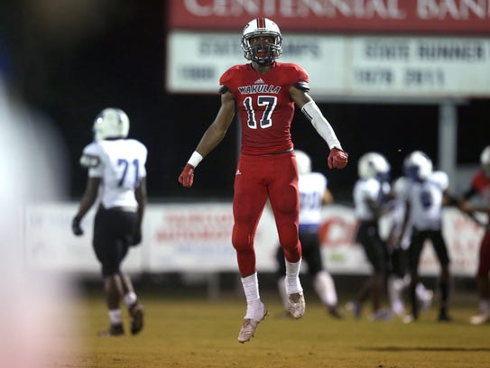 Wakulla's Keyshawn Greene celebrates a play.