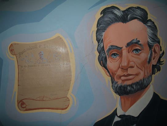 This mural of Abraham Lincoln, the namesake of Lincoln