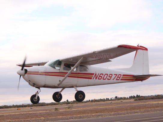 Local pilot Robert Benavidez lifts off the ground Thursday