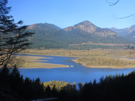 Views of the Columbia River Gorge are seen from the