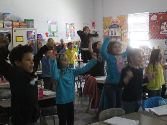 Bobby Skelton's first grade class dancing to Go Noodle