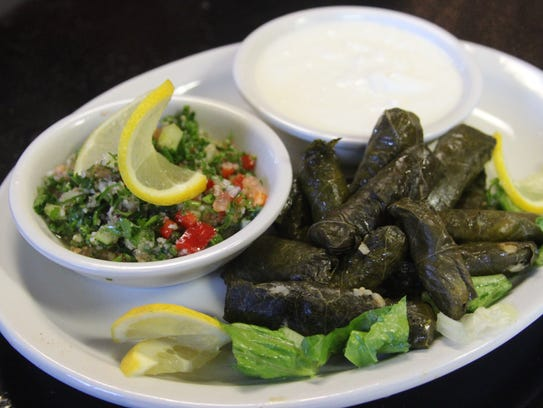 Stuffed Grape Leaves at Mediterranean Grill in Clarksville.