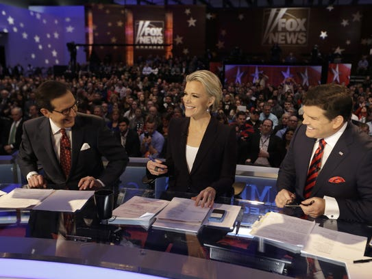 Moderators (from left) Chris Wallace, Megyn Kelly and