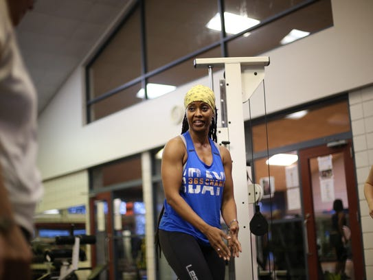 Instructor Yvonne Luster-Harvey leads her Biggest Mover