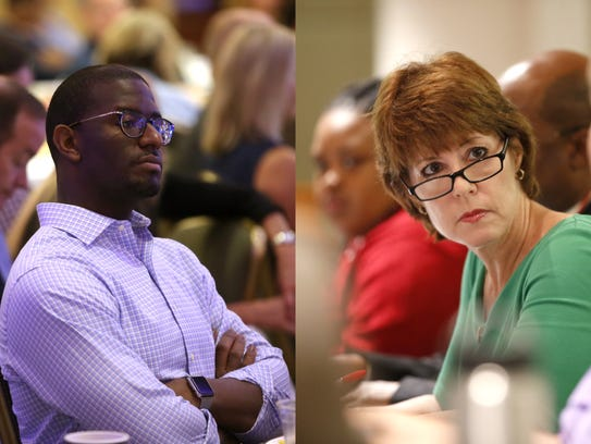 Andrew Gillum, left, and Gwen Graham, right