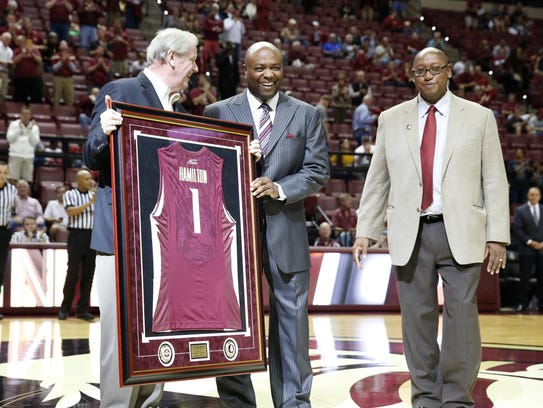 FSU athletic director Stan Wilcox (right) and president