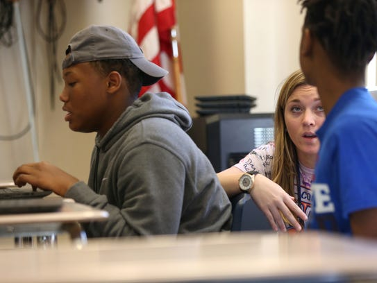 Sierra Jennings leads an 8th grade history class at