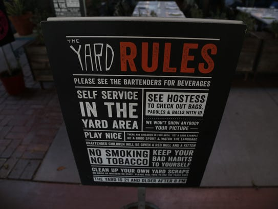 A sign with all the details at the Yard on Jan. 27,