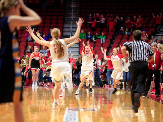 Treynor celebrates a win over Cascade in the 2A Girls