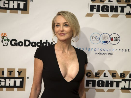 Actress Sharon Stone on the red carpet for Celebrity