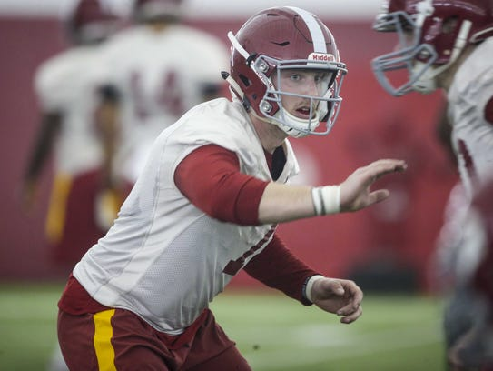 Iowa State Joel Lanning runs drills during spring football