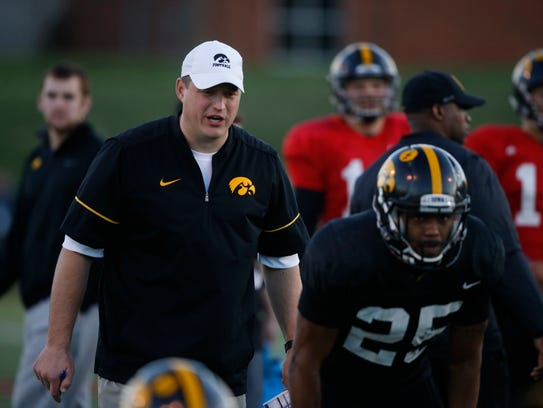 Iowa offensive coordinator Brian Ferentz looks on Friday,