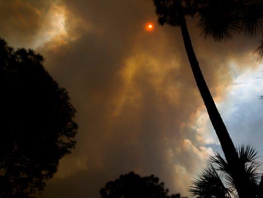 A massive brush fire sweeps across the Golden Gate